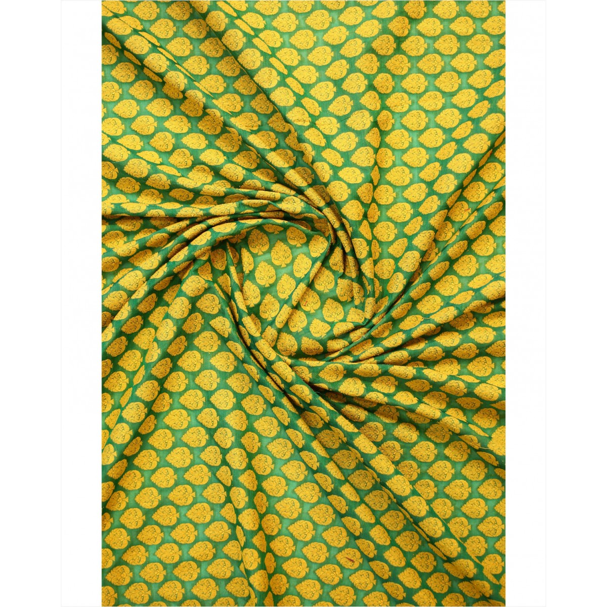 Yellow & Green Color Threadwork Pure Silk-Cotton Fabric. - Silk ...