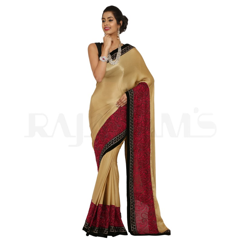 Beige Color Pure Crepe Saree.