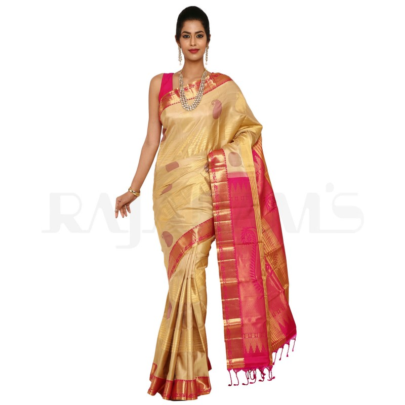 Beige Color Mango Designed Pure Kanjeevaram Silk Saree.