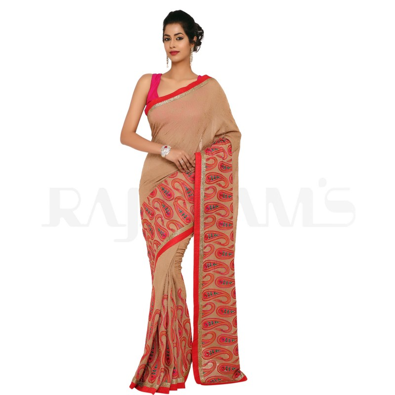 Beige Color Self Embroidered Pure Georgette Silk Saree.