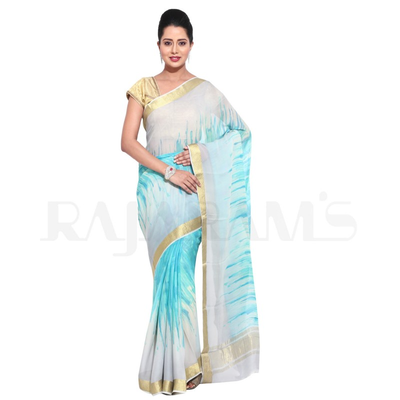 Smoke and Blue Color Printed Pure Georgette Saree.