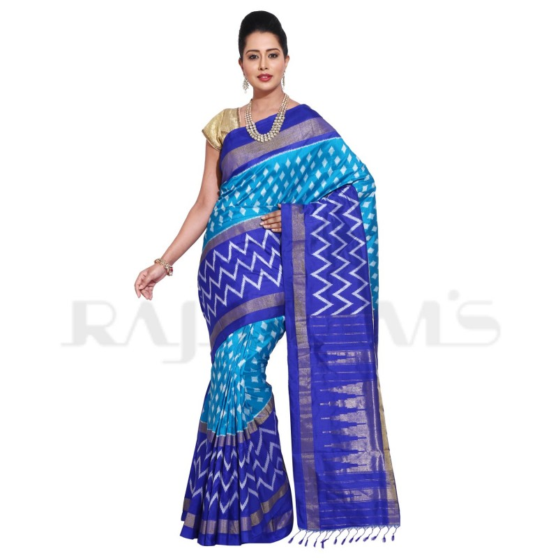 Blue Color Zig-Zag Designed Pure Handloom Patola Saree.